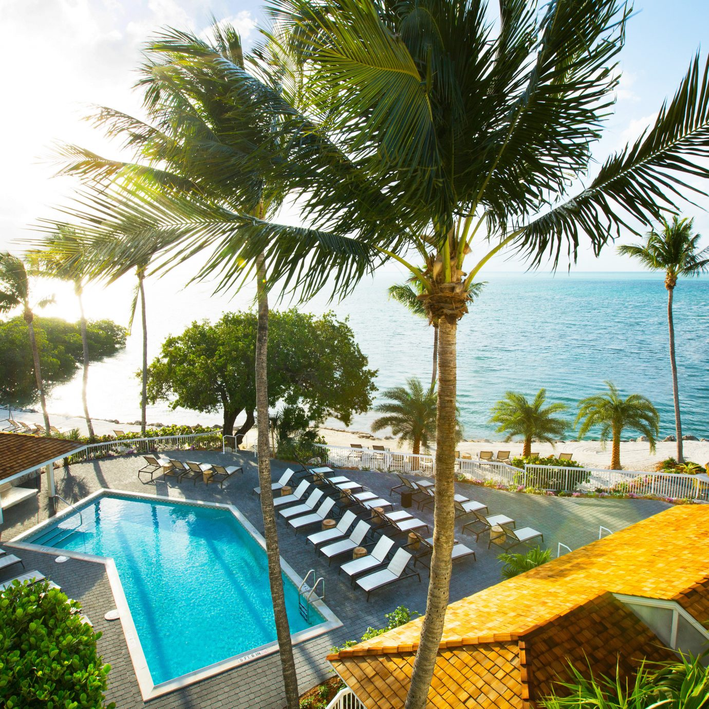 Beach Beachfront Pool Resort tree palm sky umbrella property leisure swimming pool chair caribbean arecales lawn Villa plant palm family tropics condominium shade Garden