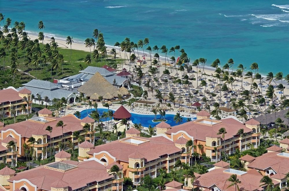 Buildings Exterior Grounds Pool Town property Resort residential area Village marina Beach Coast aerial photography Sea crowded lined