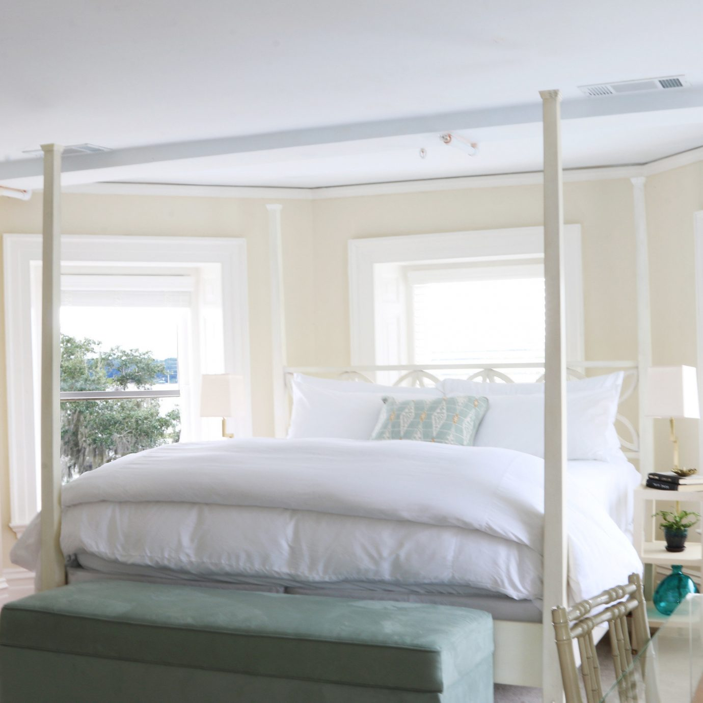 bed frame home Bedroom window treatment bedding mattress four poster bed sheet house living room curtain