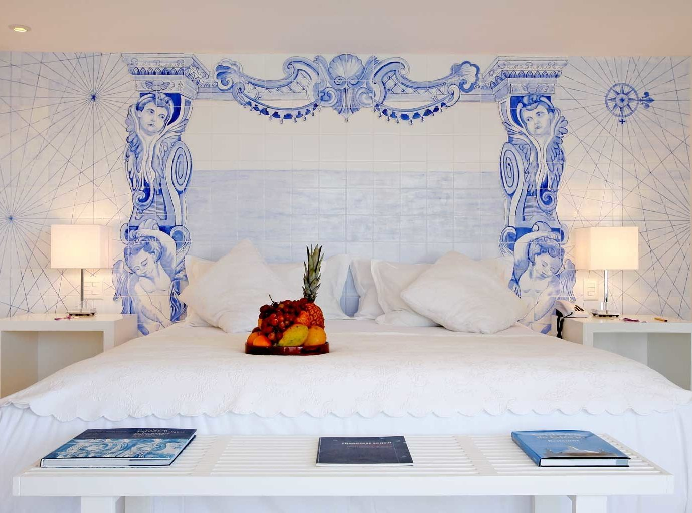 Bedroom Boutique Cultural Romantic blue bed sheet textile cottage living room