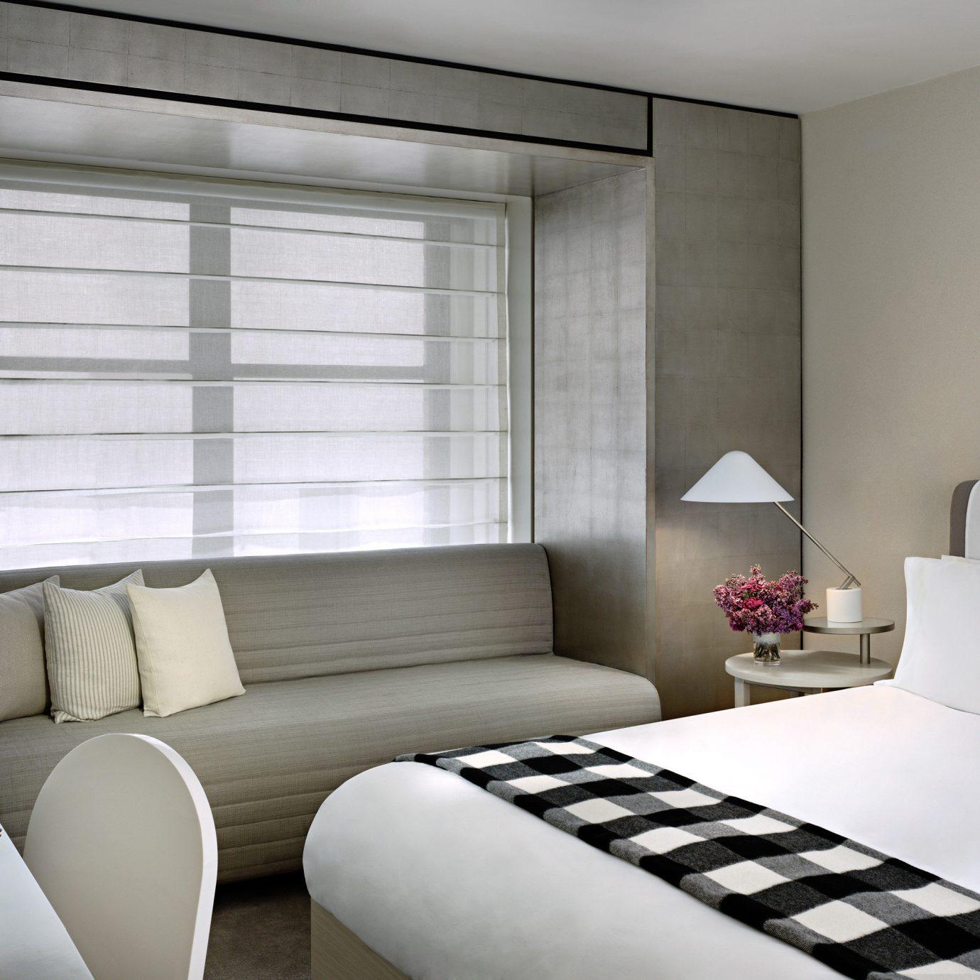 Bedroom Business City Modern sofa white living room curtain window treatment bed sheet textile lamp
