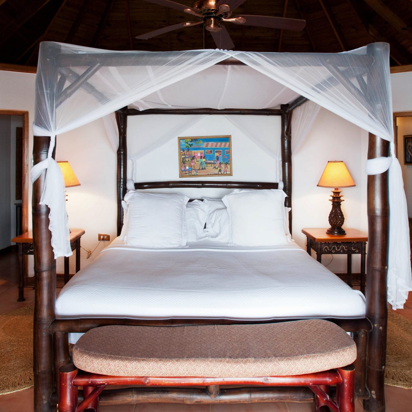 Bedroom Romance Romantic Rustic Sea Tropical Waterfront property house home cottage living room Suite Villa Resort