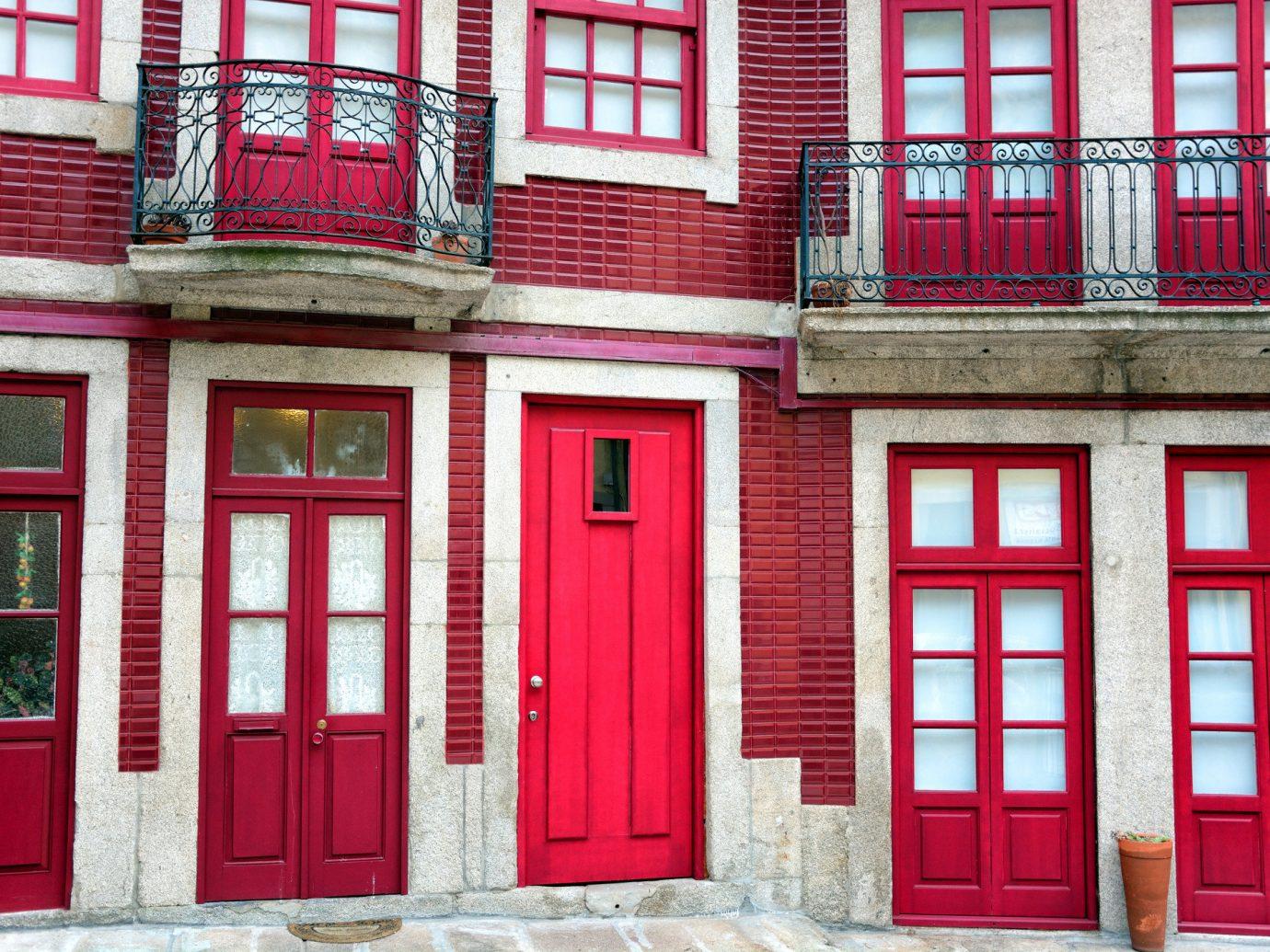Offbeat Trip Ideas building outdoor red color house Architecture facade window door interior design window covering
