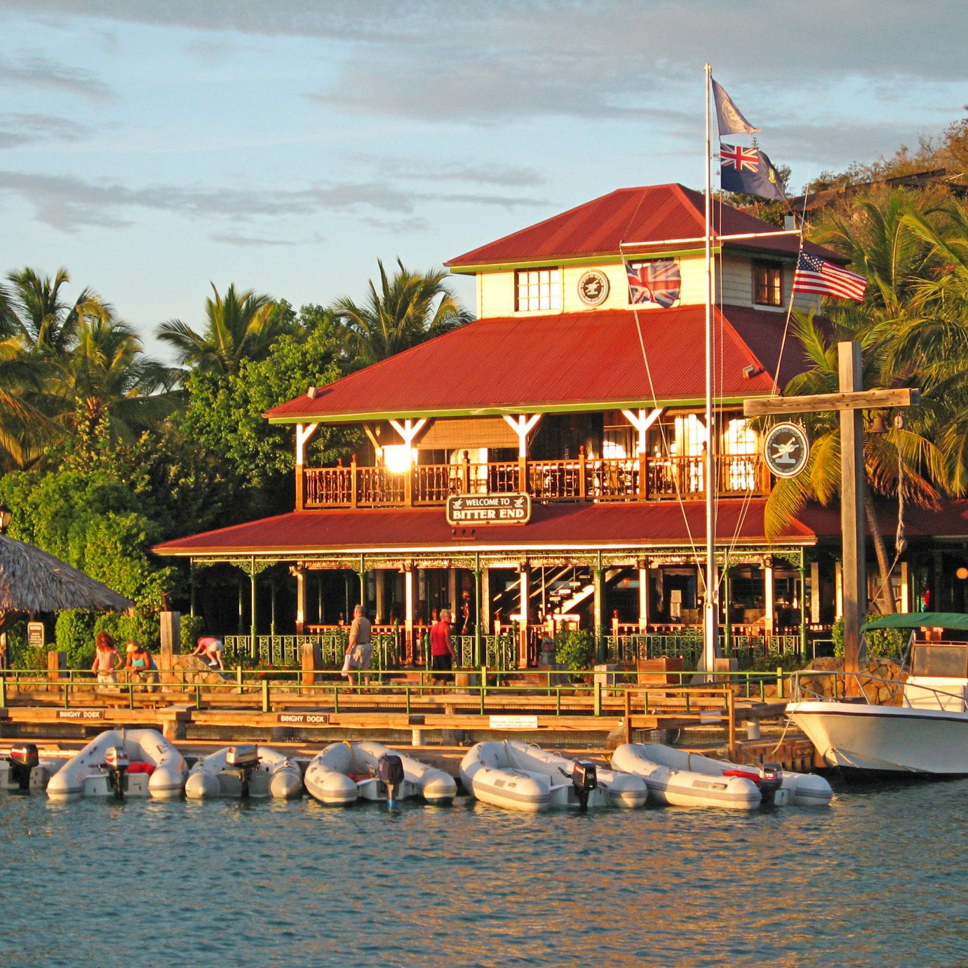 Exterior Tropical Waterfront tree water sky Boat Resort amusement park vehicle Sea boating restaurant