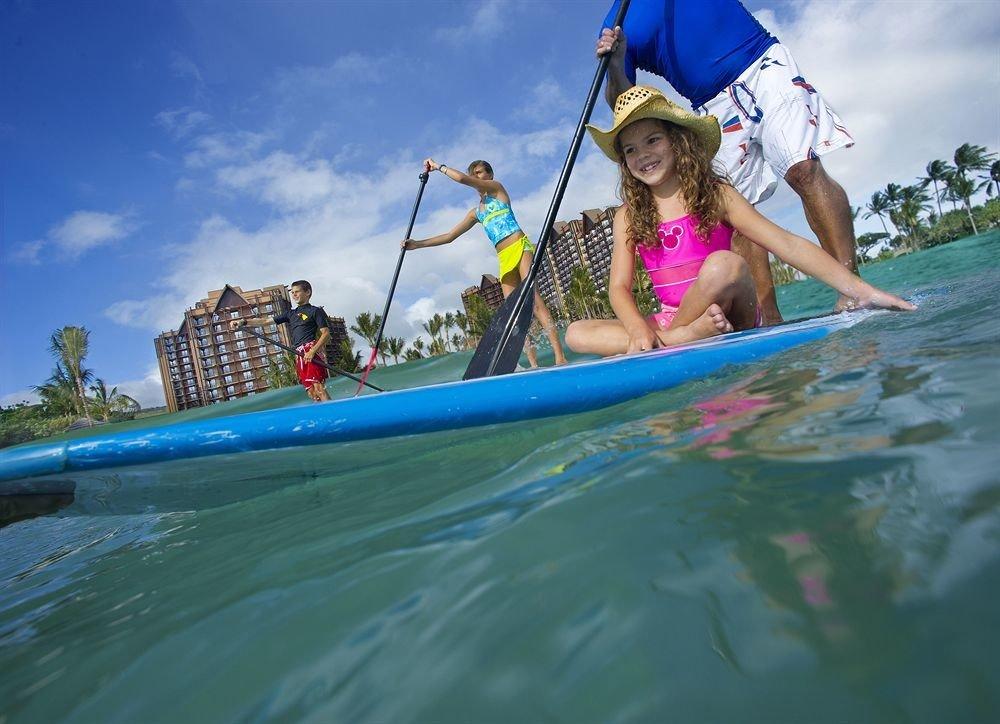 riding girl little vehicle boating Boat kayak Sea paddle water sport sailing