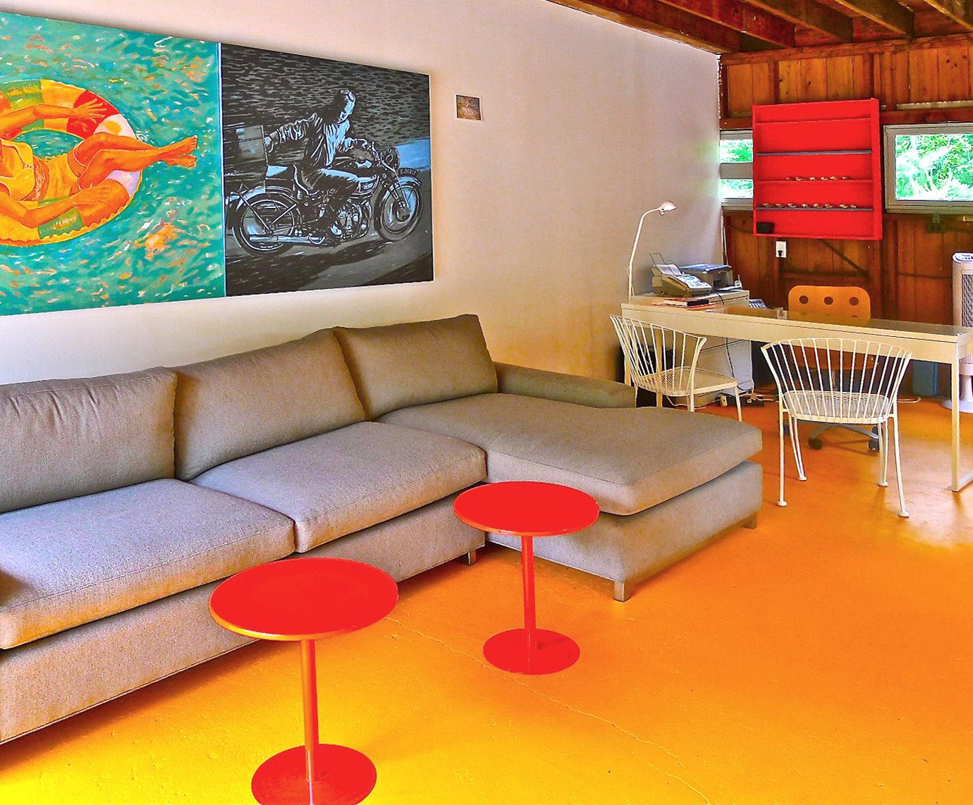 Boutique Budget Hip Suite living room red recreation room seat sofa orange colorful colored