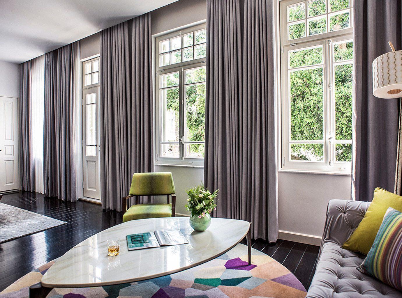 Boutique City Hip Modern Suite property home living room curtain condominium cottage textile window treatment