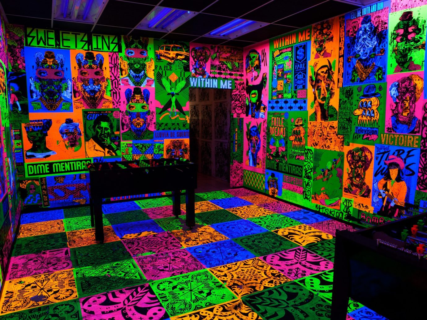 Arts + Culture colorful indoor graffiti covered art colored psychedelic art painted decorated colors