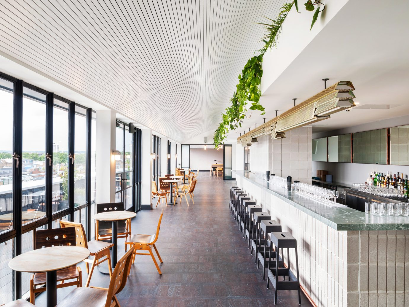 Balcony Budget Dining Drink Eat Hotels London indoor floor property room building Lobby Architecture condominium interior design estate real estate home furniture headquarters Design hall window covering ceiling