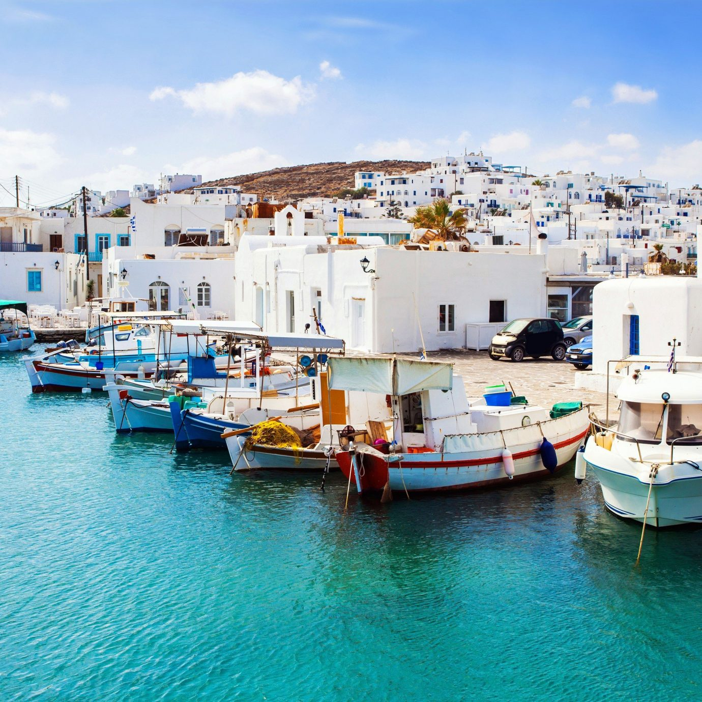 Beautiful view of an Island and boats in Greece.