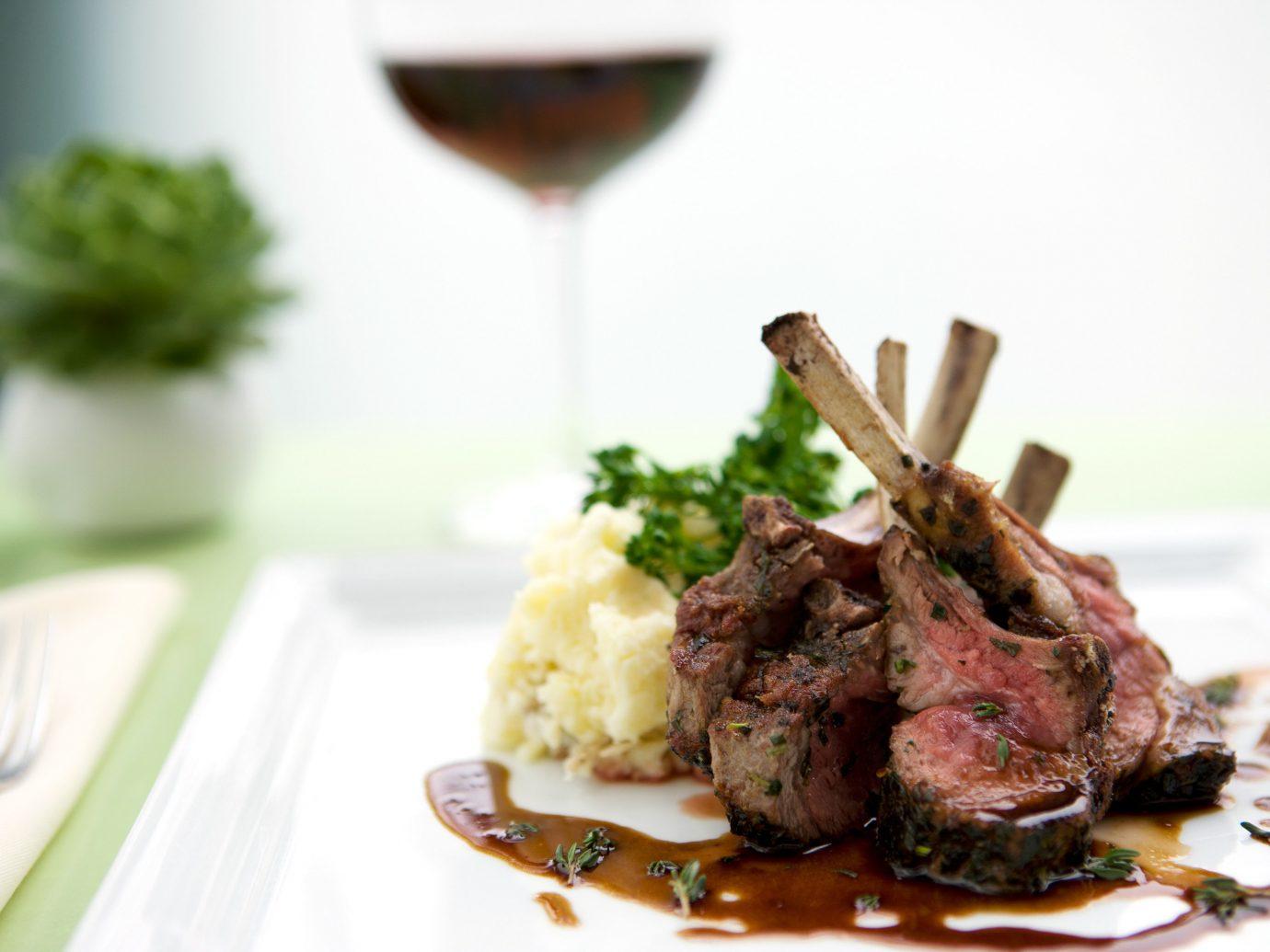 Bar Beach Dining Drink Eat Modern plate food table dish meat cuisine meal white restaurant fork sense produce dinner piece de resistance