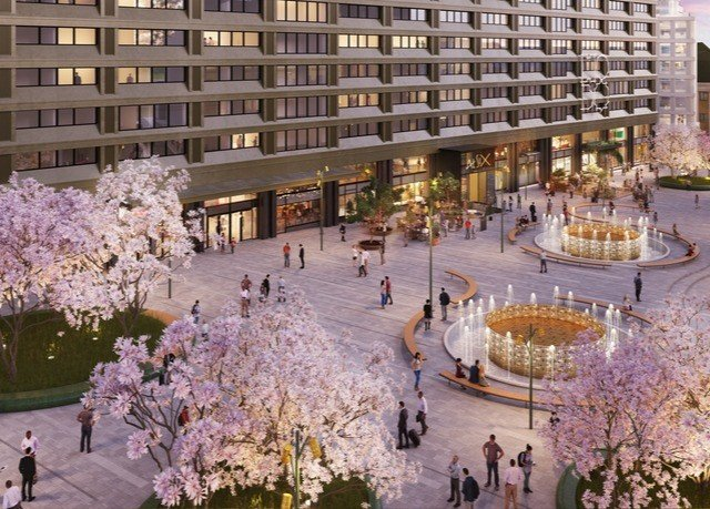 plaza City flower cherry blossom town square aisle retail surrounded
