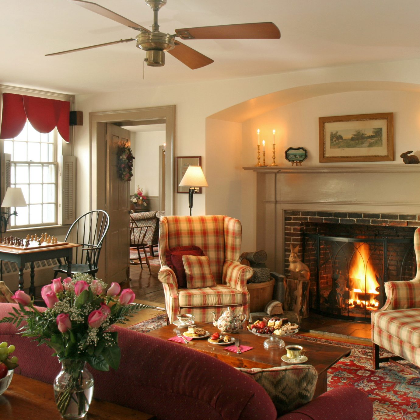 Classic Country Fireplace Inn property living room home fire cottage Villa mansion farmhouse