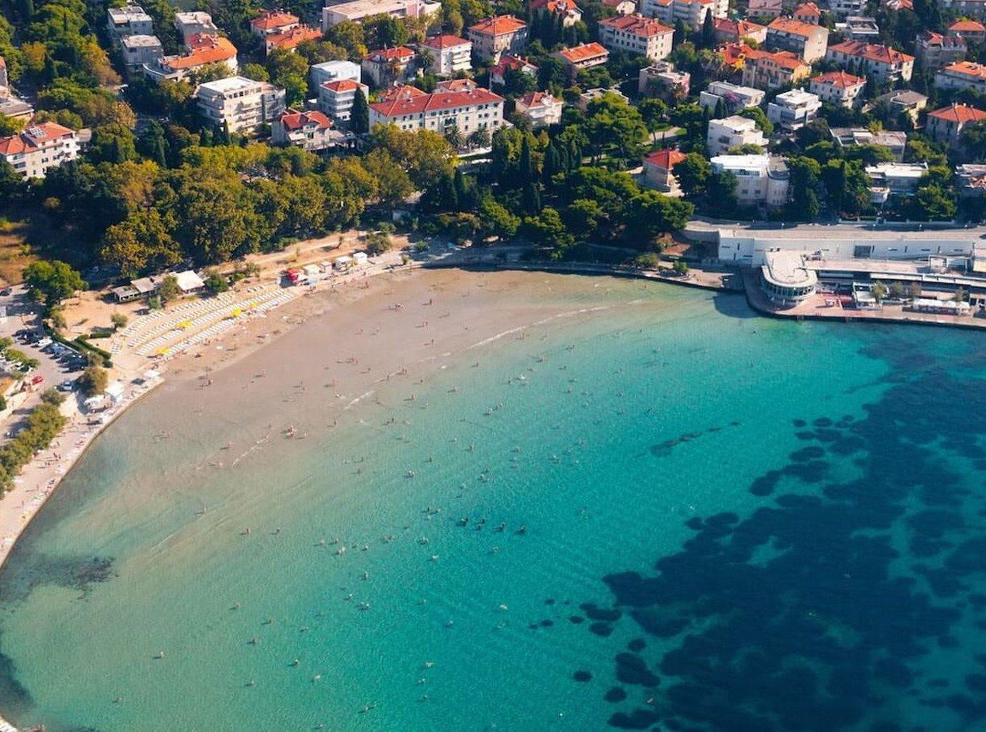 aerial photography Town Nature Coast Sea swimming pool marina shore