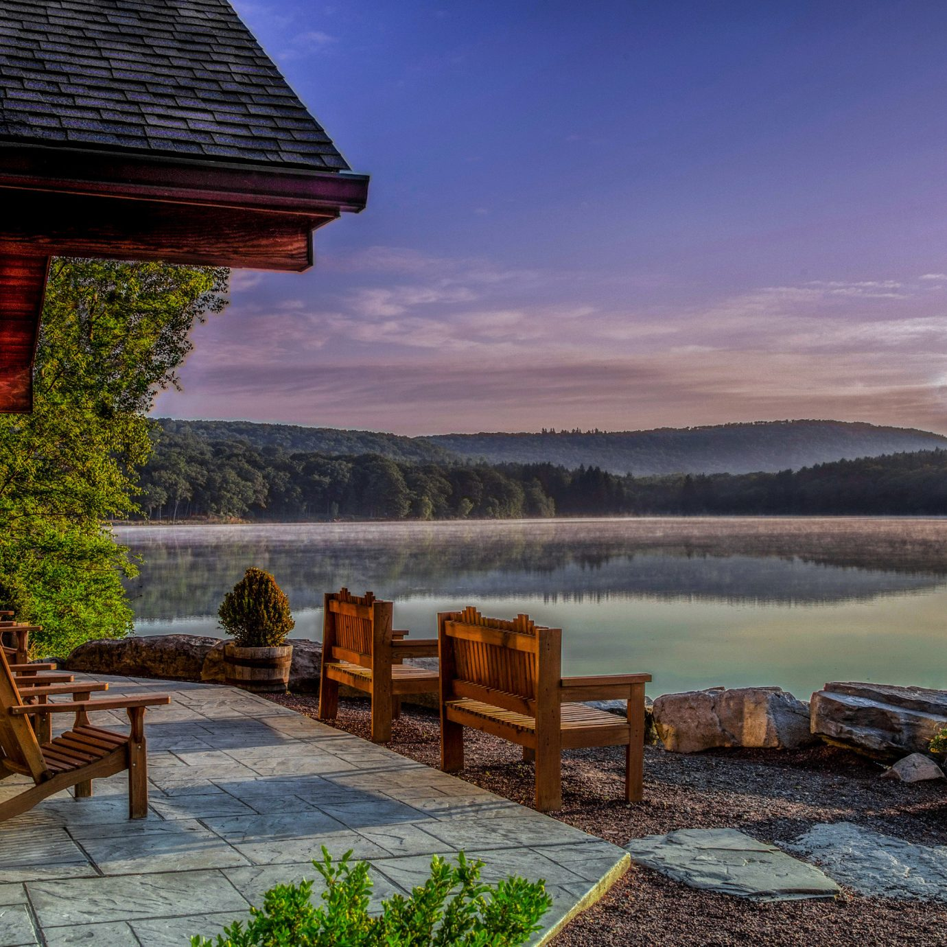 Country Courtyard Historic Lodge Lounge Natural wonders Nature Outdoors Patio Waterfront wooden morning landscape evening Lake Sea overlooking stone