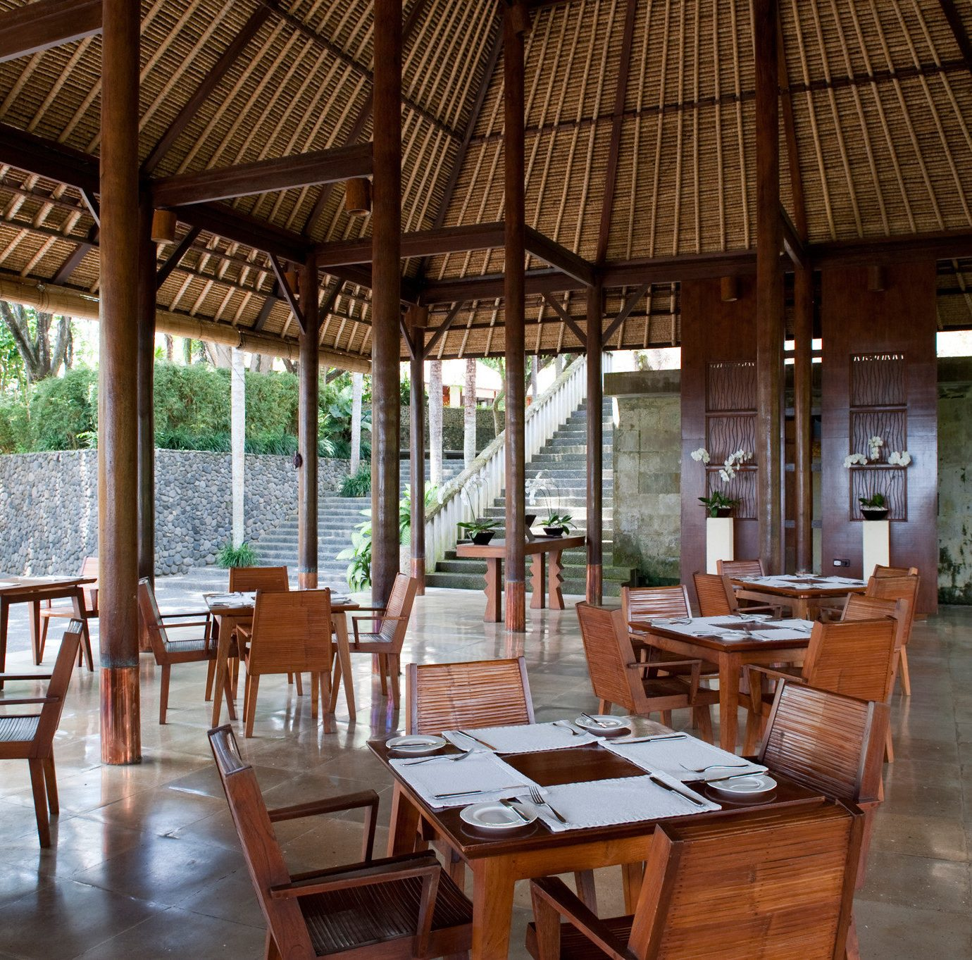 Country Dining Drink Eat Jungle chair property Resort wooden restaurant cottage outdoor structure