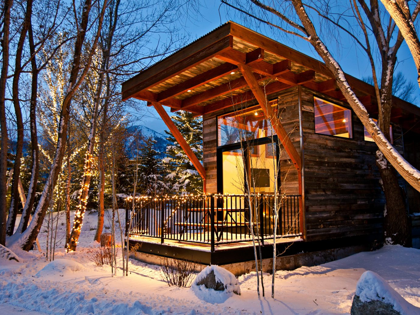 Country Glamping Hotels Trip Ideas tree snow Winter season log cabin house Resort shrine