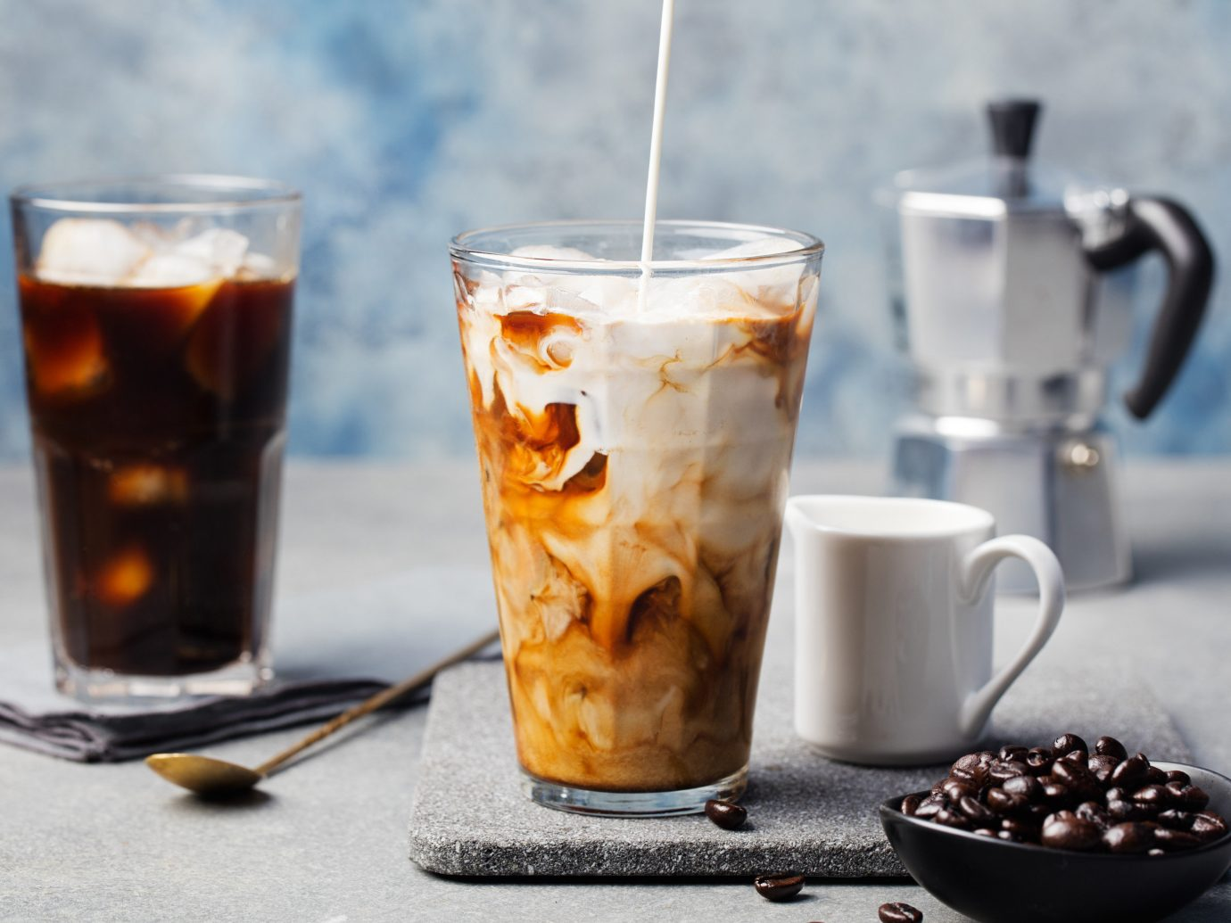 Food + Drink Offbeat Travel Trends cup coffee table Drink food beverage meal produce breakfast dish espresso iced coffee pitcher fresh