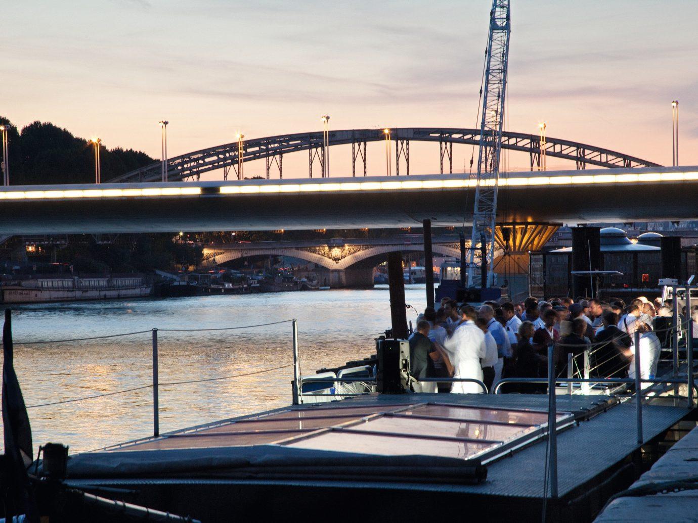 Romance Trip Ideas sky water outdoor bridge Boat transport vehicle River pier reflection dock evening docked