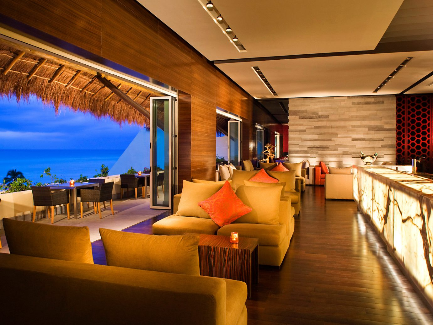 All-Inclusive Resorts Beach Beachfront Elegant Hotels Living Lounge Luxury Modern Scenic views Tropical indoor floor ceiling room estate Resort restaurant interior design function hall furniture