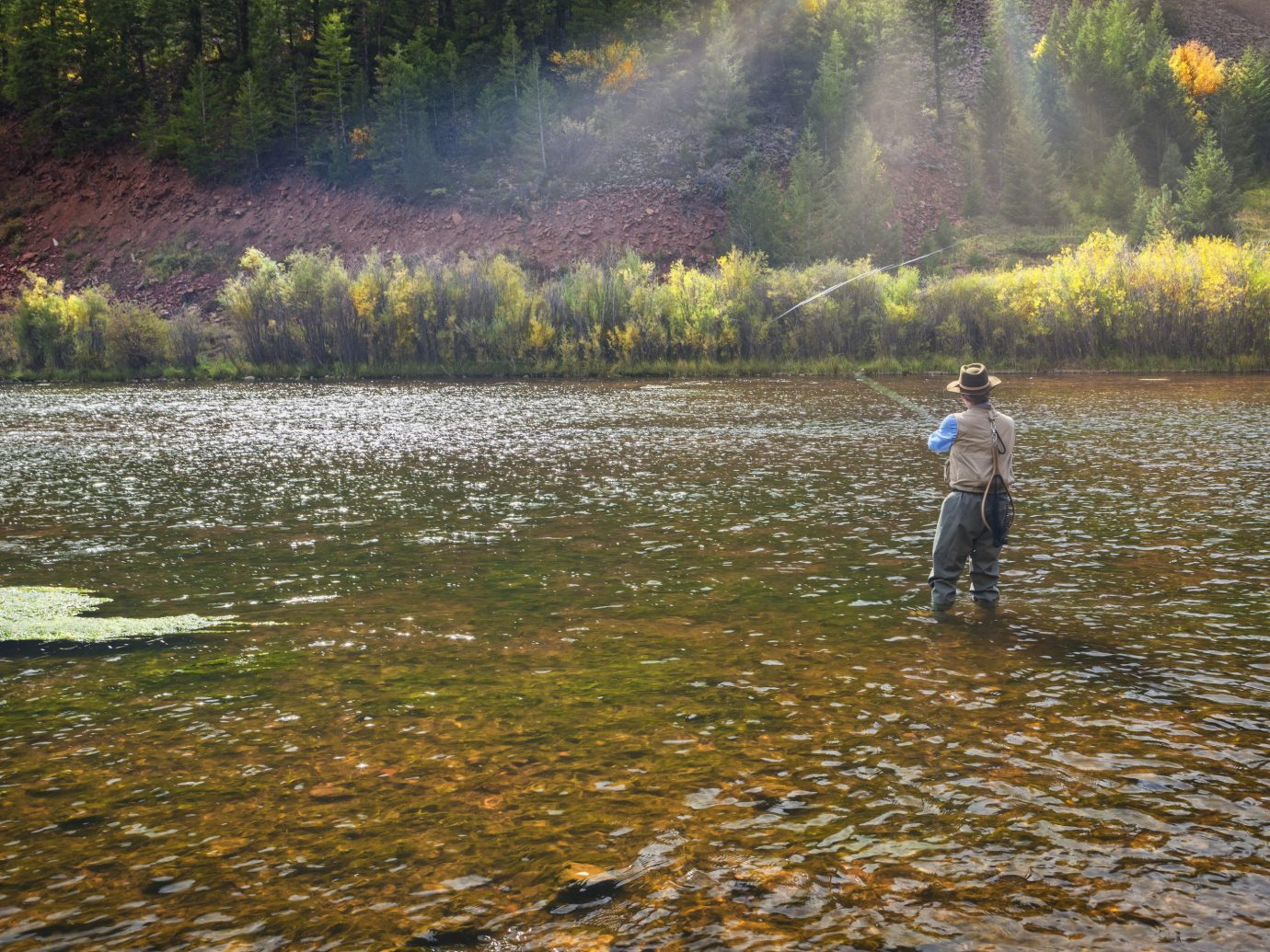 Adventure outdoor tree water Nature River leaf wilderness Sport bank recreational fishing stream creek autumn reflection plant water resources watercourse grass Lake fly fishing sunlight wetland landscape fishing recreation stream bed pond riparian zone state park Forest floodplain grass family