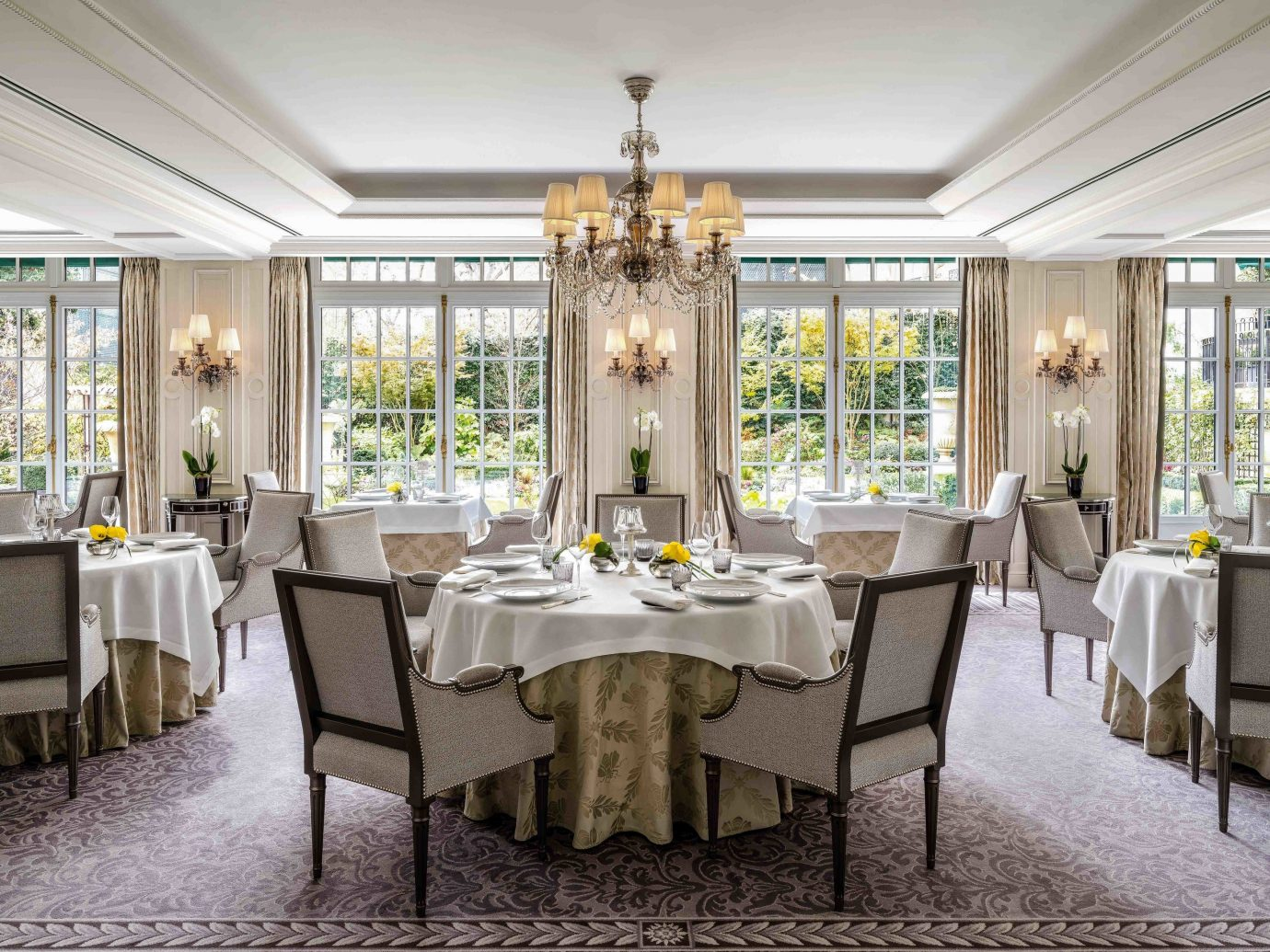 Food + Drink Romance indoor floor window table chair dining room ceiling room restaurant interior design furniture home real estate estate function hall Dining several dining table