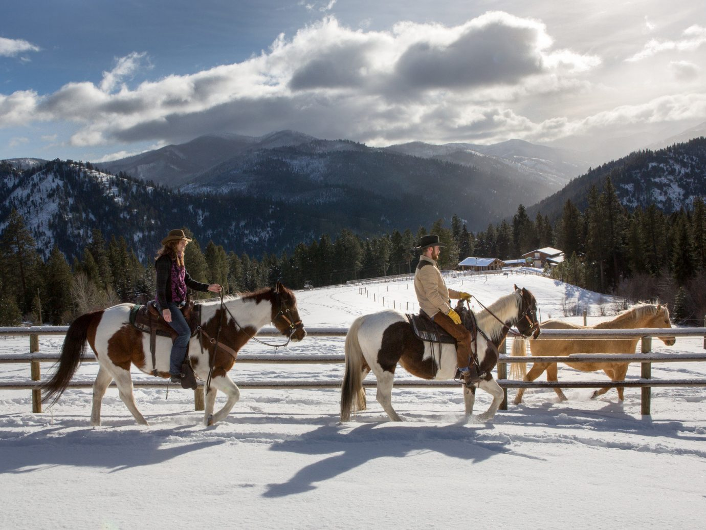 activities Glamping glow horseback riding horses Hotels majestic Montana Mountains Nature Outdoor Activities Outdoors Outdoors + Adventure people remote serene snow sunlight Trip Ideas Winter outdoor sky mountain transport weather vehicle season sled dog sled winter sport animal sports