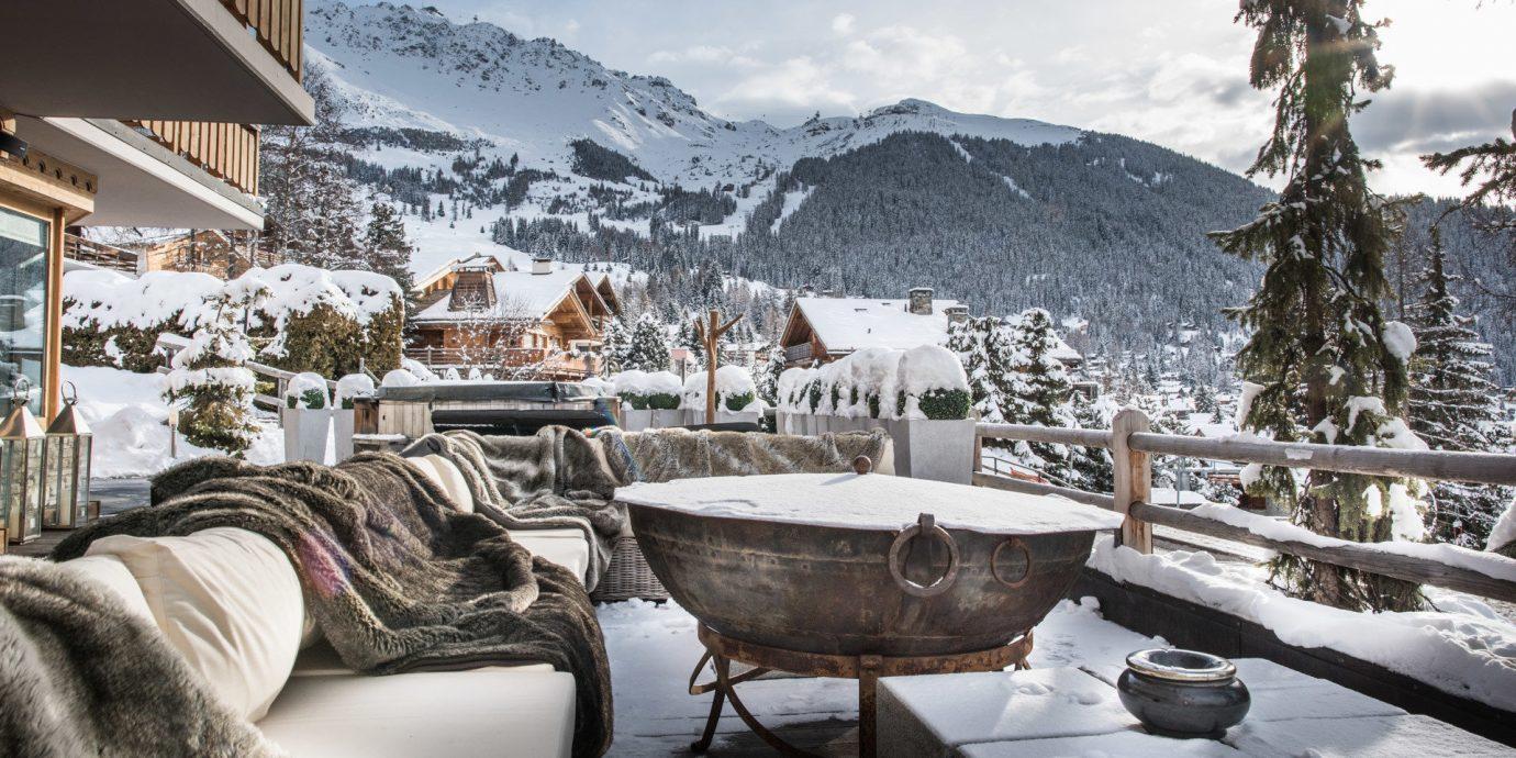 Food + Drink Hotels Luxury Travel Mountains + Skiing sky outdoor snow Winter weather Resort season