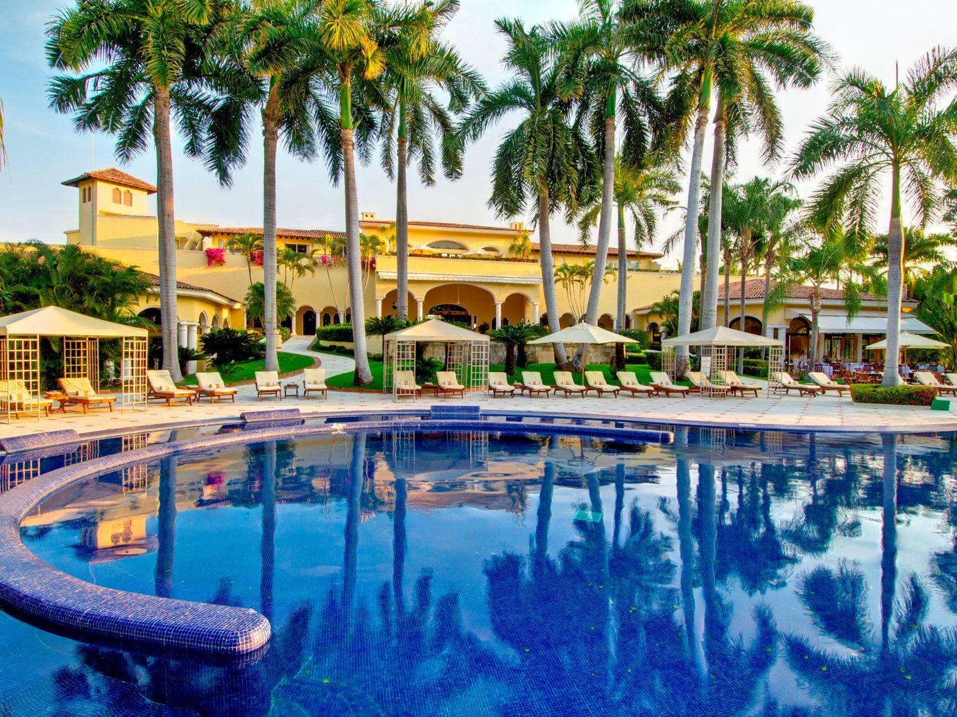 All-Inclusive Resorts Elegant Hotels Living Lounge Luxury Modern Pool tree outdoor sky Resort swimming pool leisure property palm estate vacation condominium resort town mansion lined