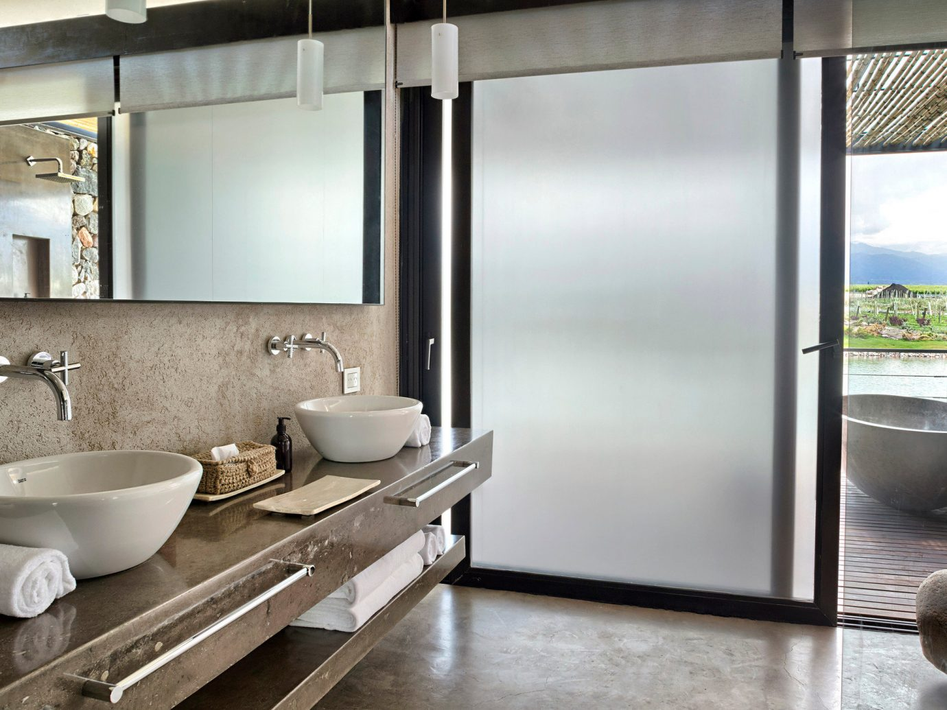 Food + Drink Hotels indoor floor bathroom room interior design window sink home loft flooring interior designer