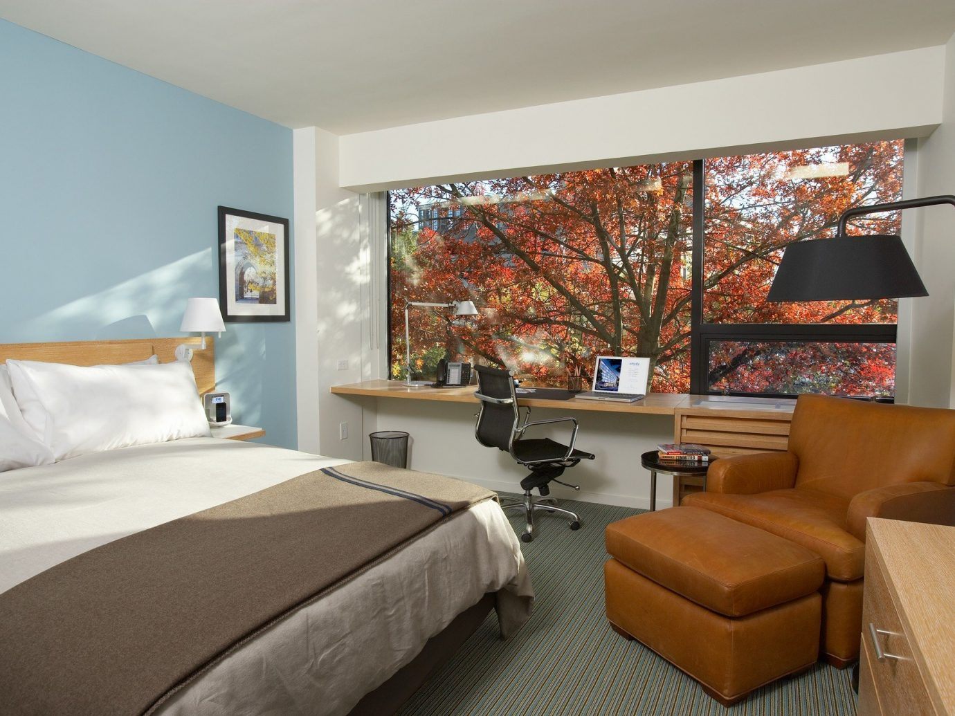 autumn bed Bedroom Boutique Fall Fall leaves foliage Garden view Hotels leaves natural light Nature trees view window indoor wall sofa room floor ceiling property living room home estate real estate interior design Suite hotel cottage Design condominium apartment furniture decorated