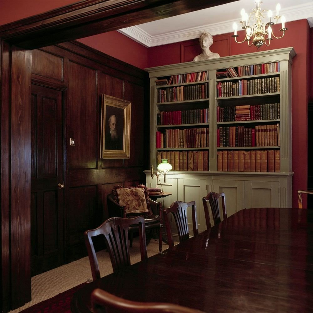 shelf property living room library house home hardwood cabinetry hall Dining