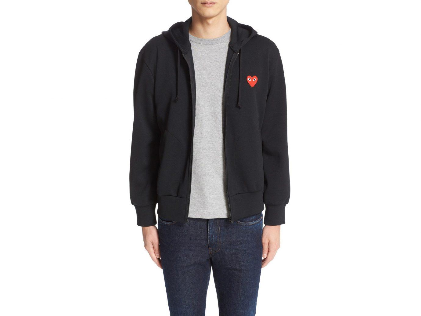 person man suit standing hood clothing wearing jacket posing sleeve polar fleece hoodie sweatshirt dressed clothes male