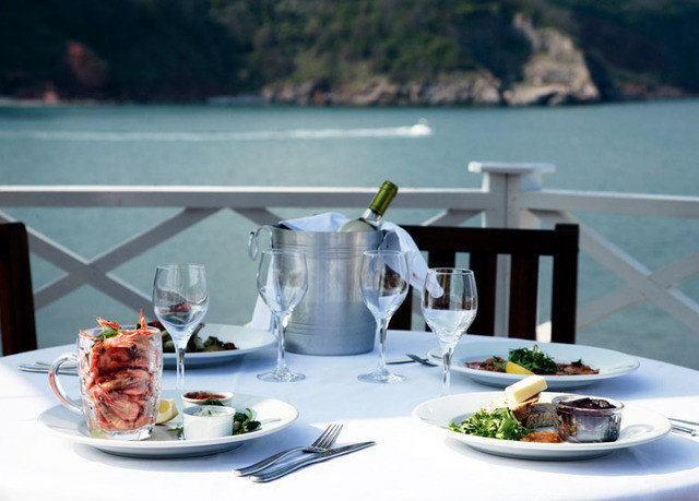 plate Drink yacht restaurant overlooking dining table