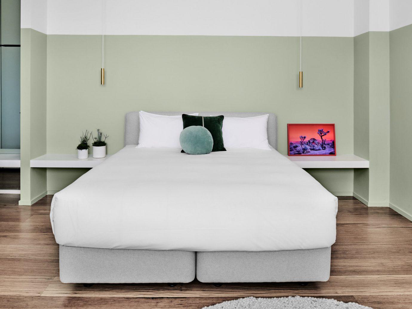 Australia Hotels Melbourne wall indoor floor bed frame room furniture bed mattress Bedroom interior design bed sheet Suite white home pillow bedding product design comfort mattress pad product interior designer duvet cover