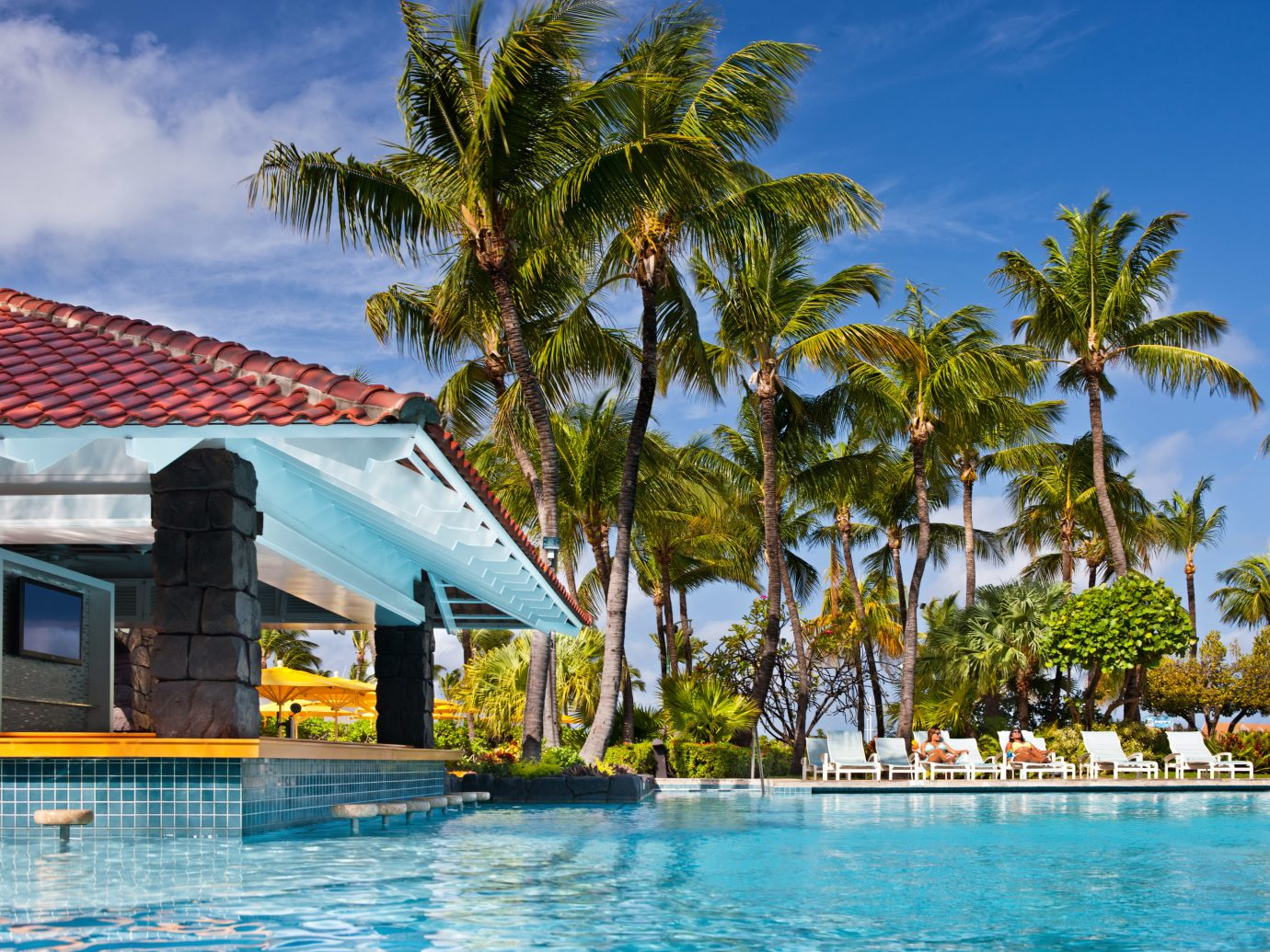Aruba Beachfront Casino Classic Hotels Pool Resort Tropical outdoor tree sky water swimming pool leisure caribbean vacation arecales Beach estate Sea resort town tropics Lagoon bay Island palm swimming