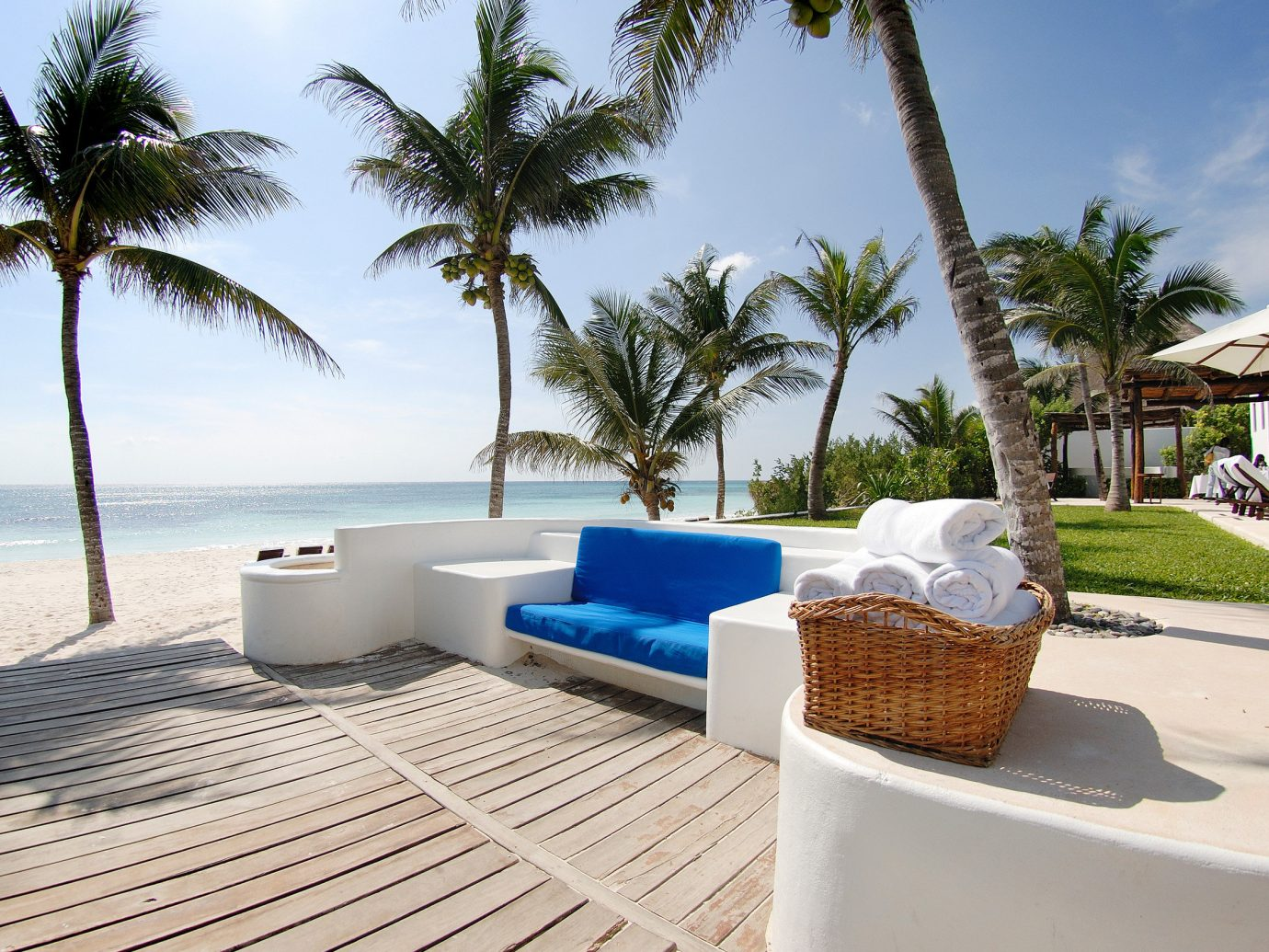 Boutique Hotels Hotels Mexico Romance Tulum sky tree outdoor property vacation Resort palm Beach caribbean swimming pool estate Villa arecales home Sea real estate condominium plant furniture