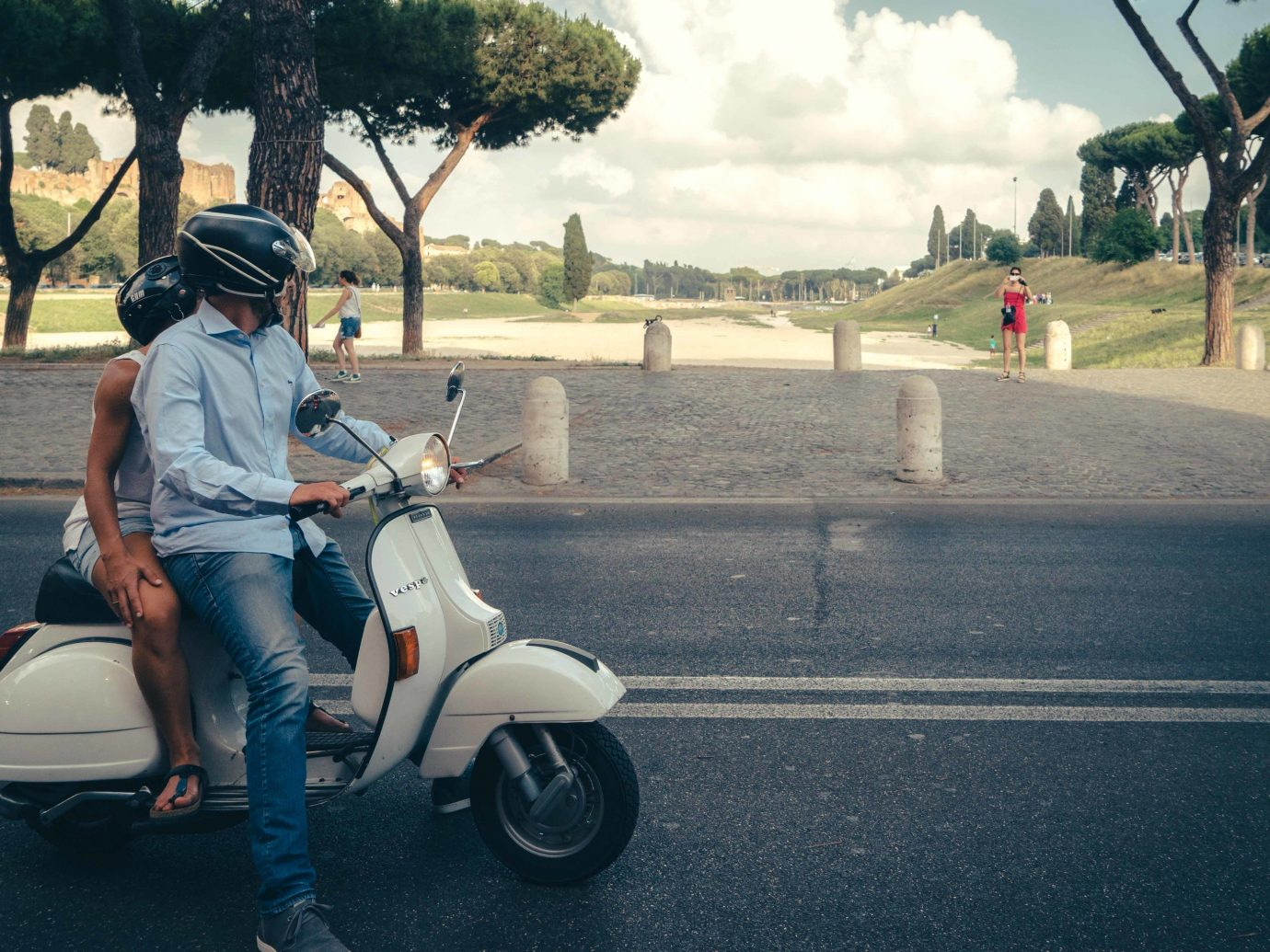 Trip Ideas outdoor road tree sky land vehicle car scooter vehicle motorcycle mode of transport motor vehicle transport snapshot vespa street girl wheel vacation
