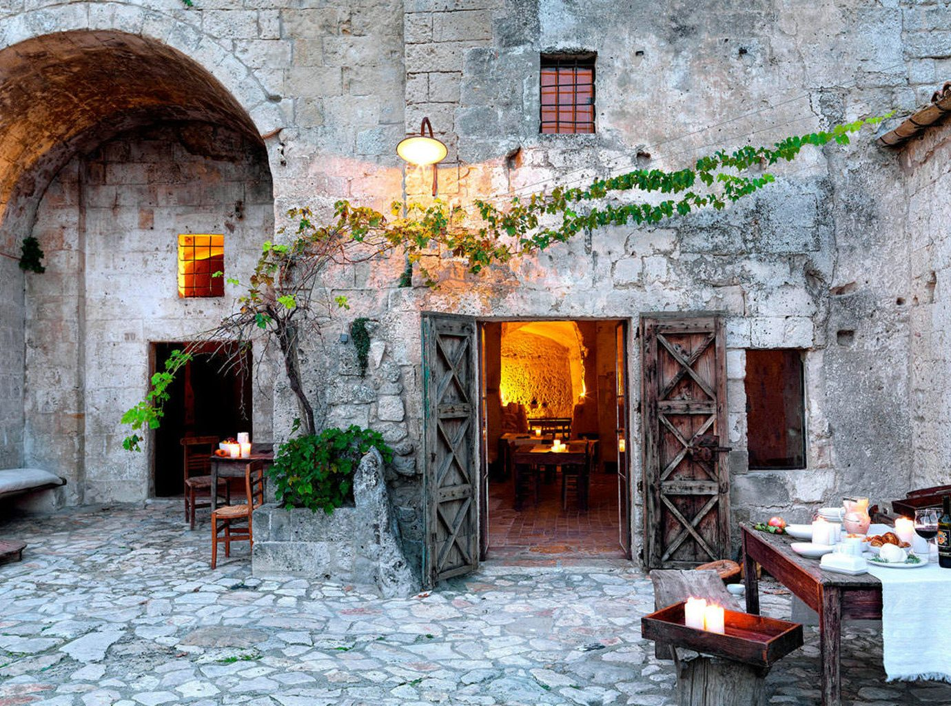 B&B Boutique Country Drink Eat Historic Hotels Romance Romantic Trip Ideas Wine-Tasting building stone chair house Town Fireplace old brick Courtyard cottage home Village furniture hacienda ancient history alley area