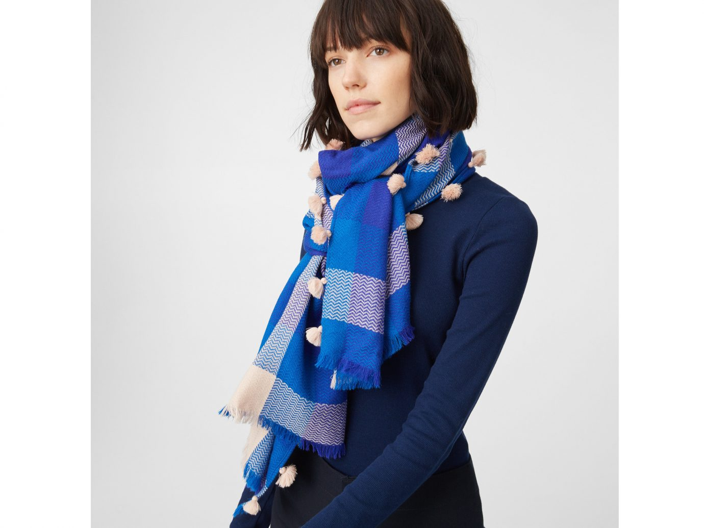 Travel Shop person clothing wearing scarf shoulder posing suit electric blue blue dressed stole pattern product neck coat