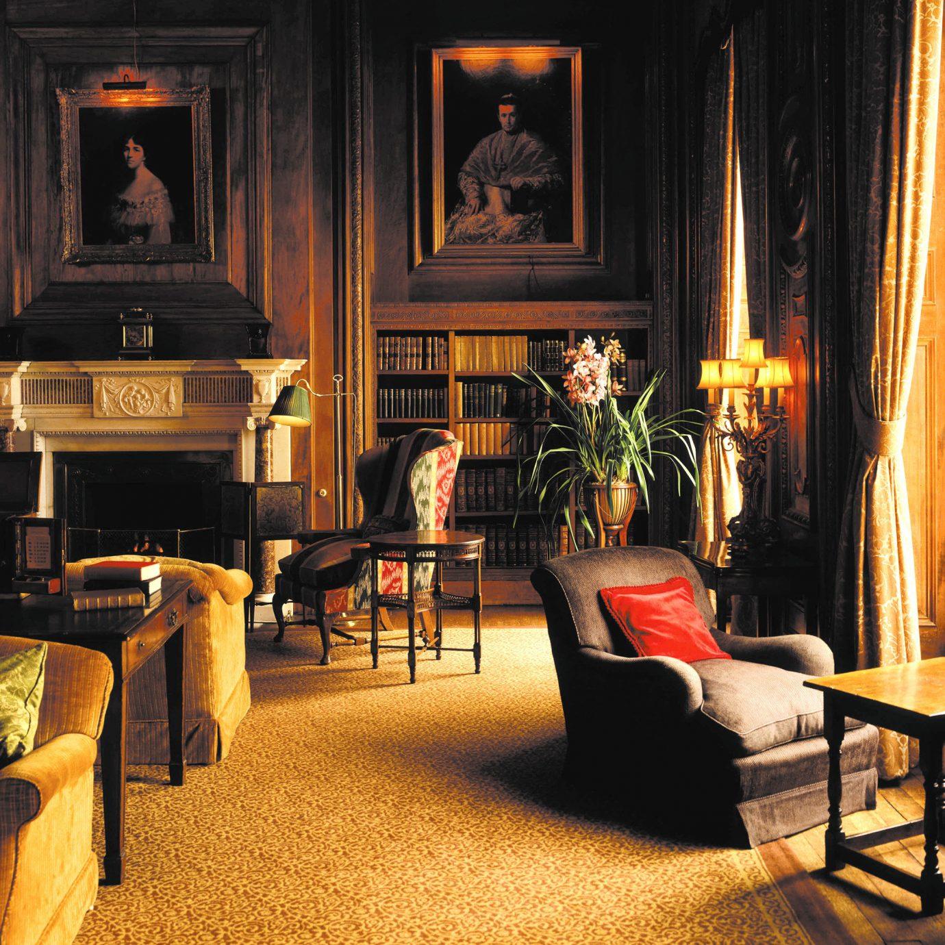 Elegant Fireplace Historic Lounge chair living room home lighting Lobby