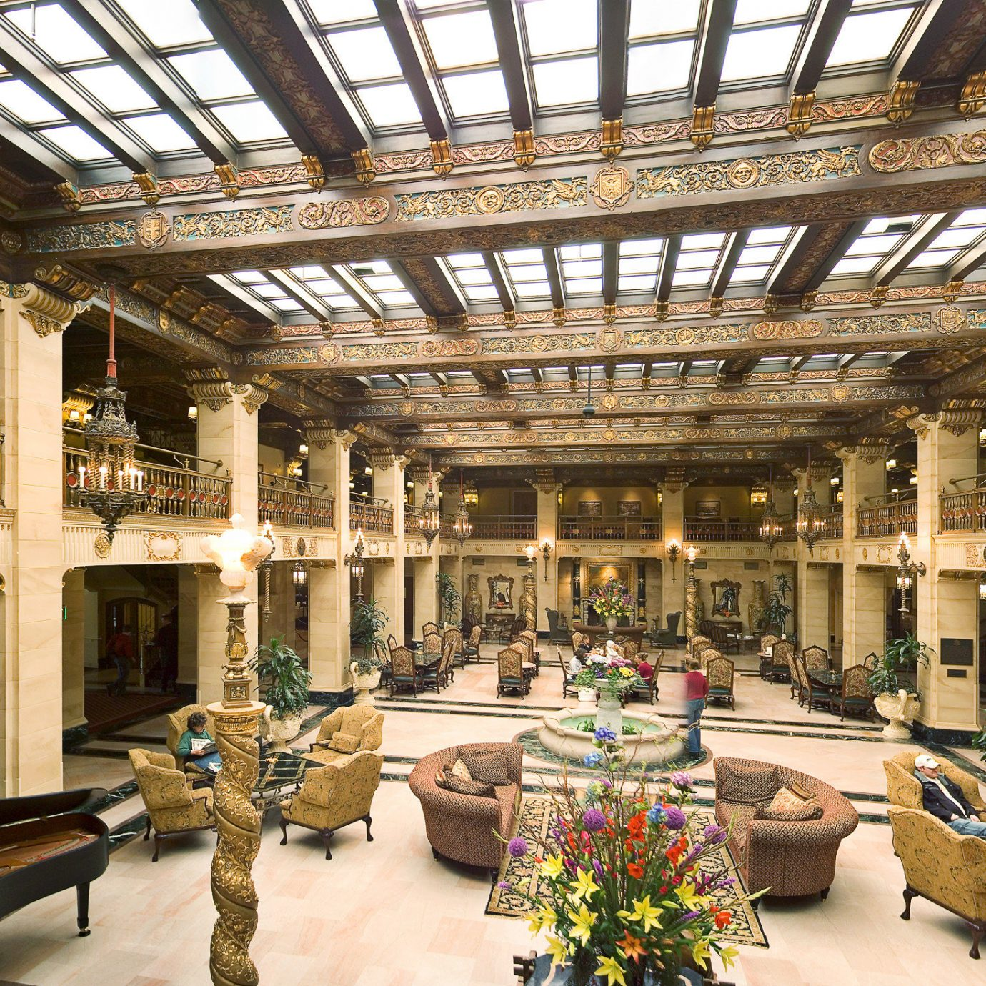 Elegant Historic Lobby Lounge Luxury building palace plaza arcade shopping mall tourist attraction