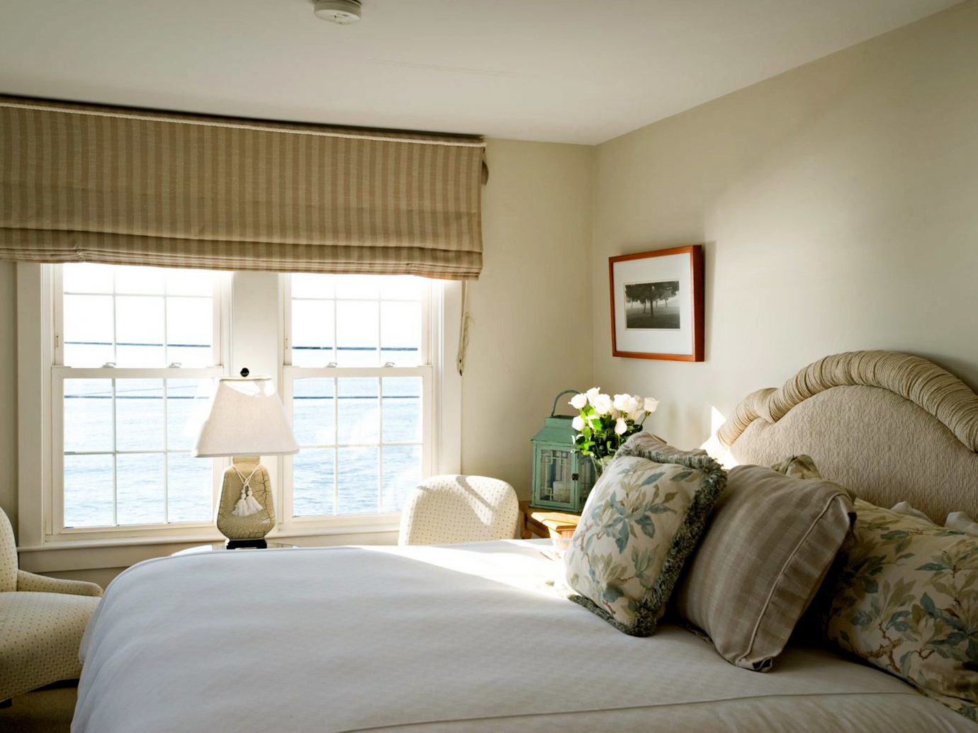 Beachfront Bedroom Country Hotels Inn Scenic views Waterfront indoor wall bed window room property ceiling living room home estate interior design hotel real estate cottage floor Suite pillow furniture