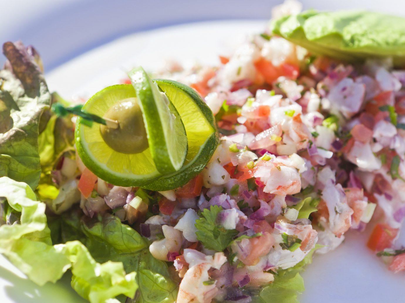 Beach food plate salad dish tuna salad cuisine produce vegetable ceviche greek salad tostada close fried rice toppings