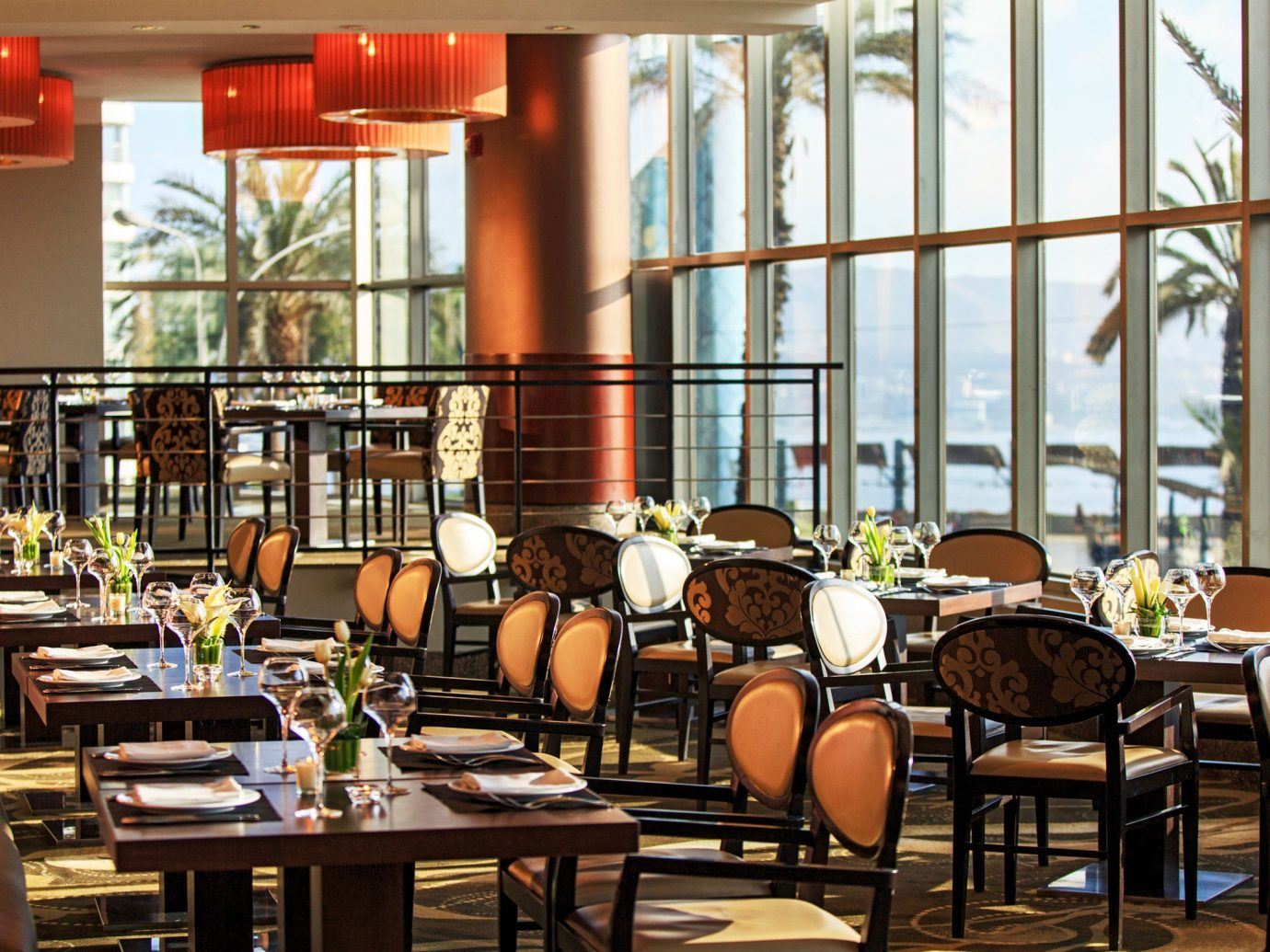 Bar Boutique Hotels Dining Drink Eat Hotels Modern Scenic views table chair indoor window restaurant room meal café interior design cafeteria coffeehouse Resort furniture area set several dining table dining room