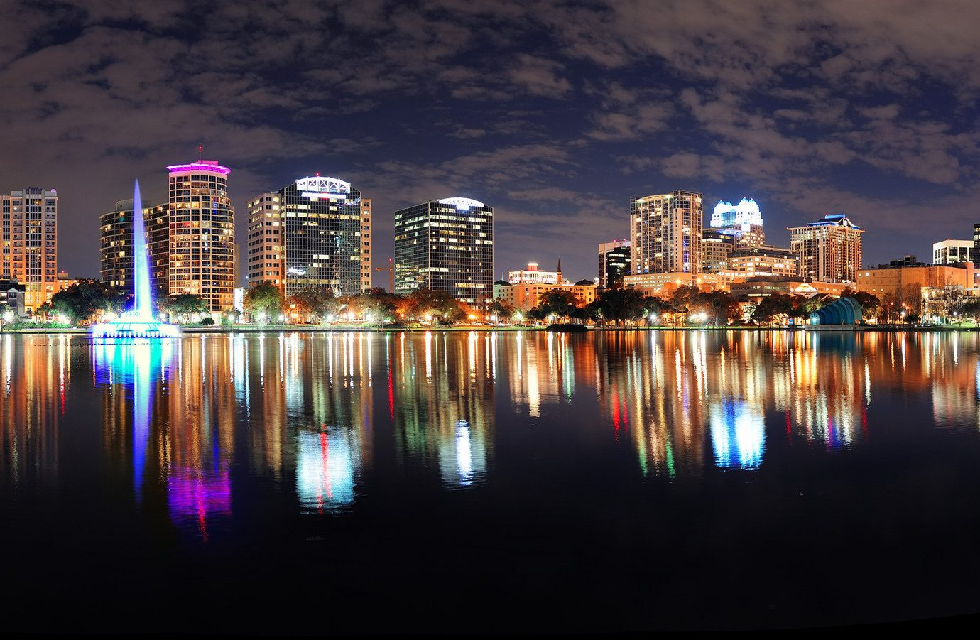 Budget water skyline reflection outdoor night City metropolis cityscape landmark skyscraper human settlement urban area evening dusk Downtown Harbor colorful several colored