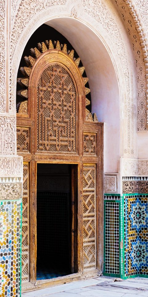 Arts + Culture Marrakech Morocco Style + Design arch Architecture wall historic site place of worship door building facade window column synagogue symmetry