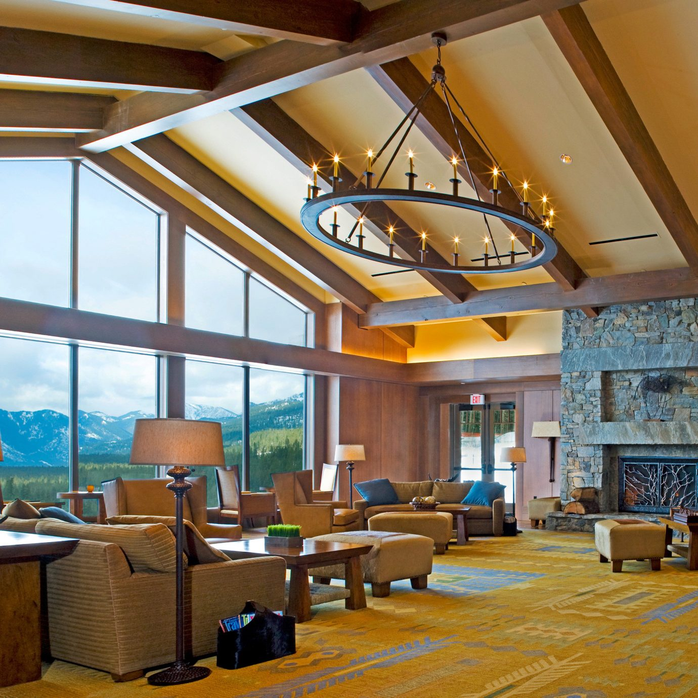 Fireplace Lounge Modern Mountains Natural wonders Resort Rustic Scenic views property Lobby recreation room home living room condominium