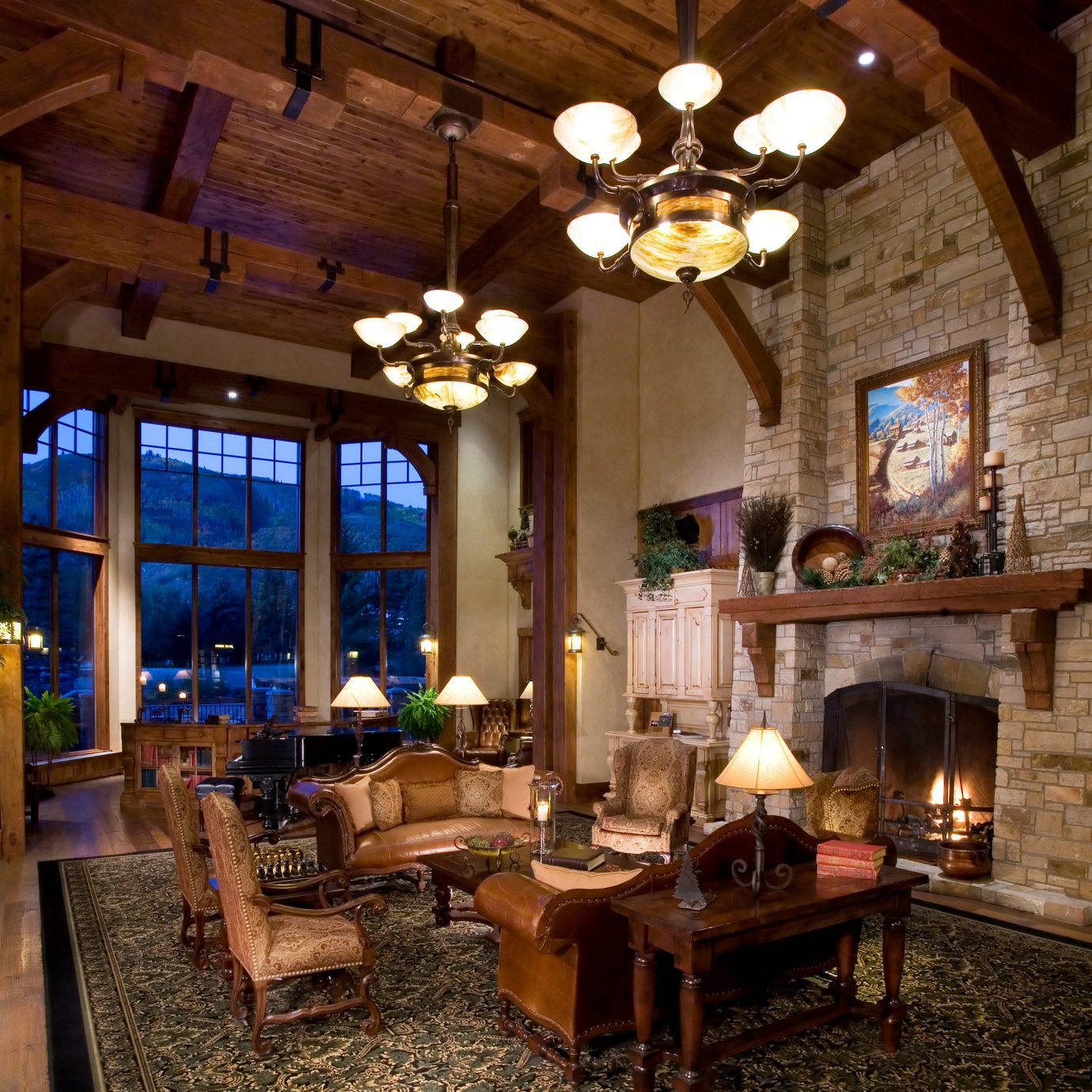Fireplace property building home house living room lighting cottage farmhouse restaurant mansion log cabin Resort Lobby Villa