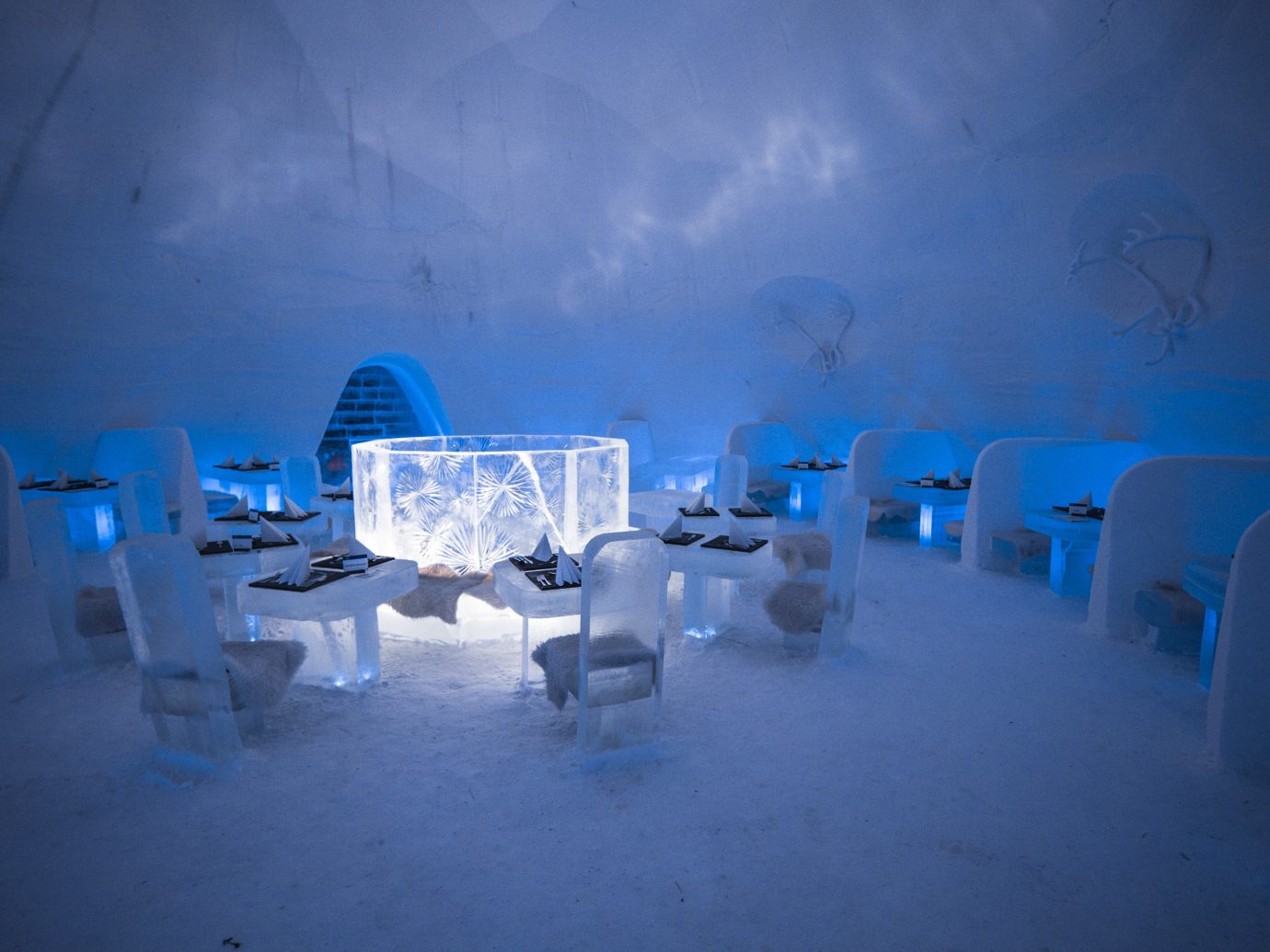 News Offbeat Trip Ideas blue ice hotel ice atmosphere phenomenon arctic sky snow freezing Winter water